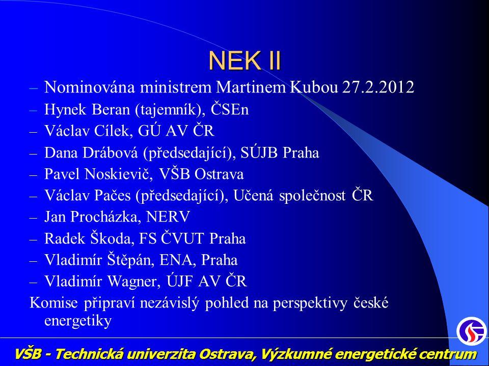 VŠB - Technická univerzita Ostrava, Výzkumné energetické centrum NEK II – Nominována ministrem Martinem Kubou 27.2.2012 – Hynek Beran (tajemník), ČSEn