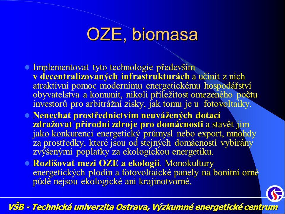 VŠB - Technická univerzita Ostrava, Výzkumné energetické centrum OZE, biomasa Implementovat tyto technologie především v decentralizovaných infrastrukturách a učinit z nich atraktivní pomoc modernímu energetickému hospodářství obyvatelstva a komunit, nikoli příležitost omezeného počtu investorů pro arbitrážní zisky, jak tomu je u fotovoltaiky.