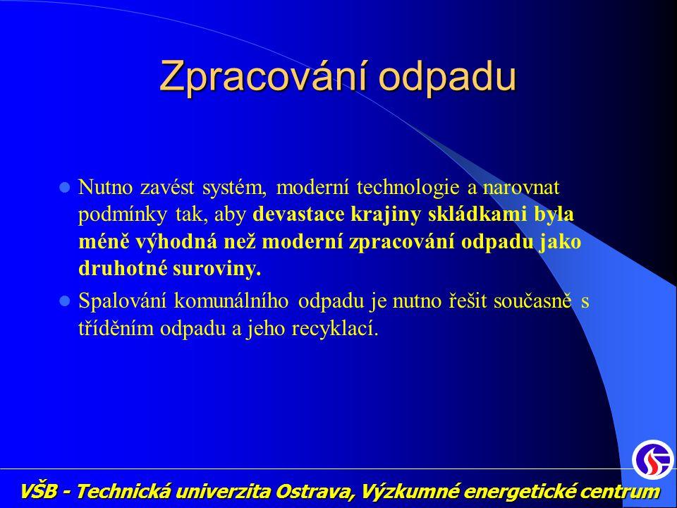 VŠB - Technická univerzita Ostrava, Výzkumné energetické centrum Zpracování odpadu Nutno zavést systém, moderní technologie a narovnat podmínky tak, a