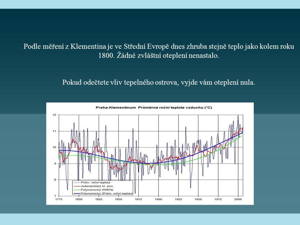 Podle měření z Klementina je ve Střední Evropě dnes zhruba stejně teplo jako kolem roku 1800. Žádné zvláštní oteplení nenastalo. Pokud odečtete vliv t