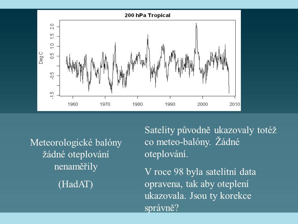 Meteorologické balóny žádné oteplování nenaměřily (HadAT) Satelity původně ukazovaly totéž co meteo-balóny. Žádné oteplování. V roce 98 byla satelitní