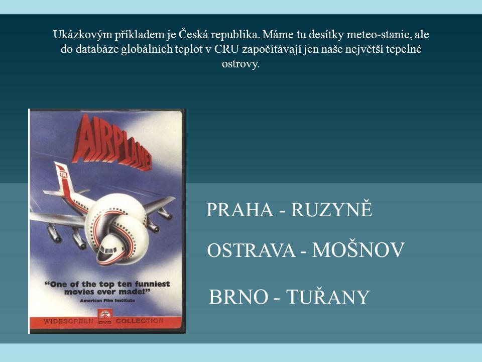 PRAHA - RUZYNĚ BRNO - T UŘANY OSTRAVA - MOŠNOV Ukázkovým příkladem je Česká republika. Máme tu desítky meteo-stanic, ale do databáze globálních teplot