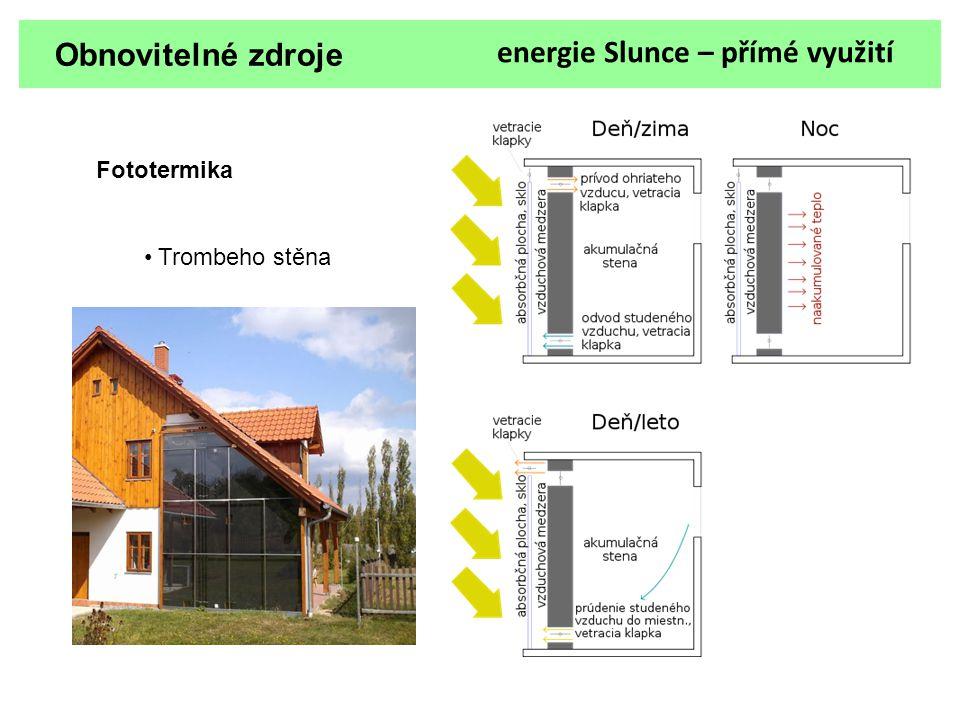 Obnovitelné zdroje energie Slunce – přímé využití Fototermika Trombeho stěna