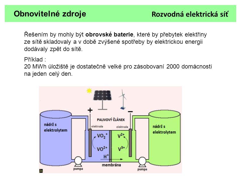 Obnovitelné zdroje Řešením by mohly být obrovské baterie, které by přebytek elektřiny ze sítě skladovaly a v době zvýšené spotřeby by elektrickou ener