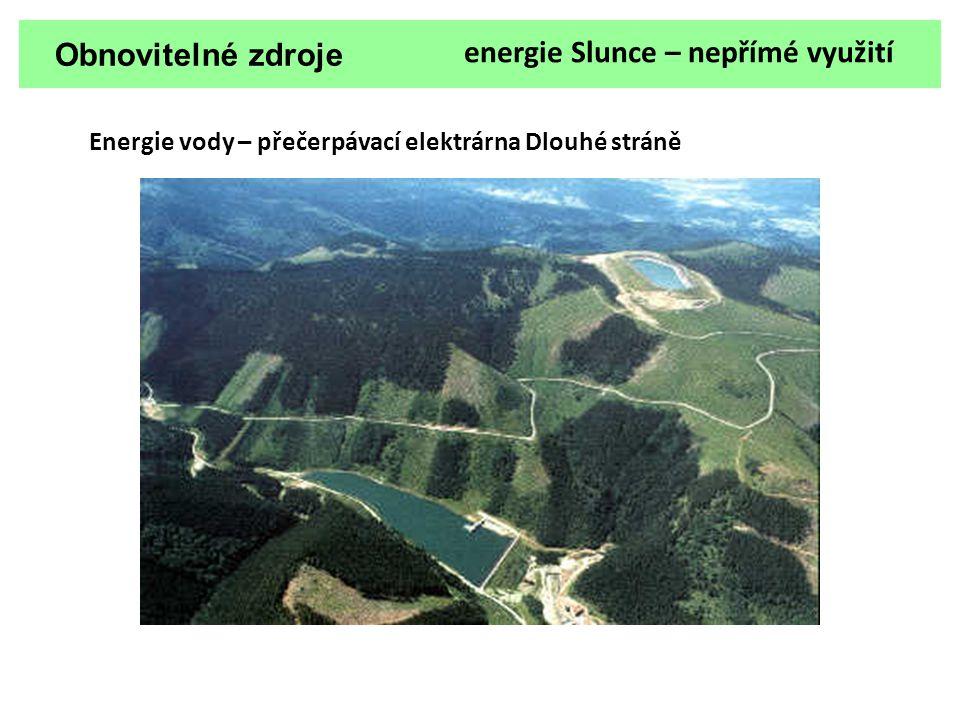 Obnovitelné zdroje energie Slunce – nepřímé využití Energie vody – přečerpávací elektrárna Dlouhé stráně
