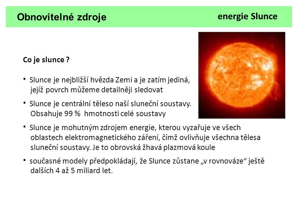 Obnovitelné zdroje energie Slunce Množství sluneční energie dopadající na zemský povrch je tak obrovské, že by současnou spotřebu pokrylo 6000 krát .