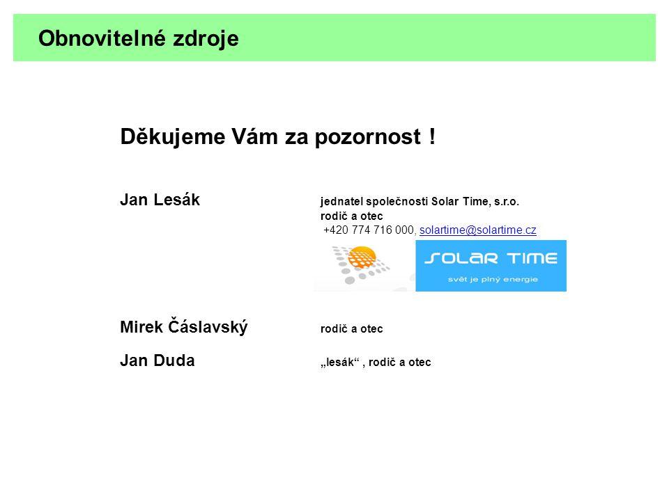 Obnovitelné zdroje Děkujeme Vám za pozornost ! Jan Lesák jednatel společnosti Solar Time, s.r.o. rodič a otec +420 774 716 000, solartime@solartime.cz