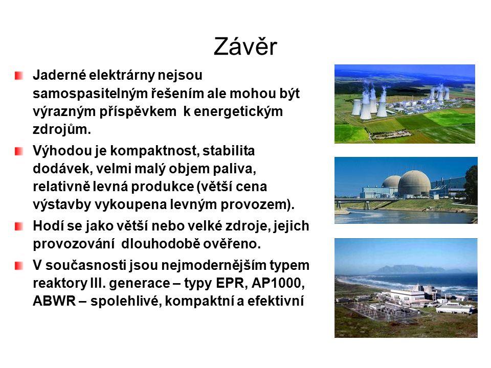 Závěr Jaderné elektrárny nejsou samospasitelným řešením ale mohou být výrazným příspěvkem k energetickým zdrojům. Výhodou je kompaktnost, stabilita do