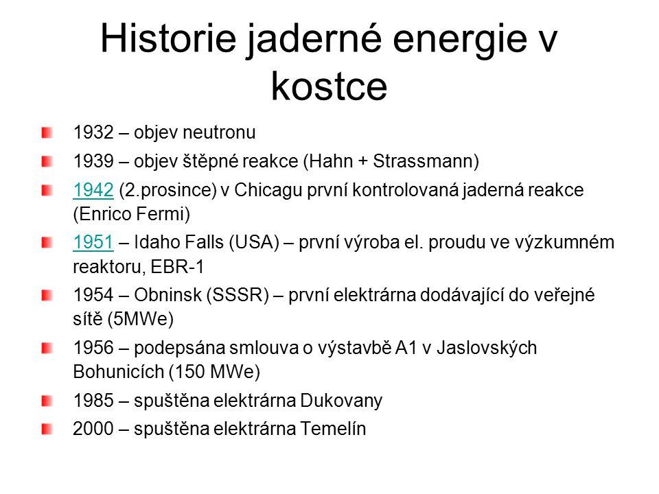 Historie jaderné energie v kostce 1932 – objev neutronu 1939 – objev štěpné reakce (Hahn + Strassmann) 19421942 (2.prosince) v Chicagu první kontrolov