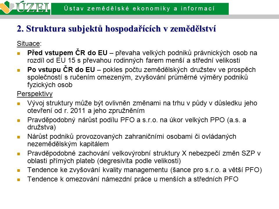 2. Struktura subjektů hospodařících v zemědělství Situace: Před vstupem ČR do EU – převaha velkých podniků právnických osob na rozdíl od EU 15 s převa