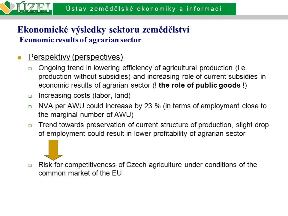 Ekonomické výsledky sektoru zemědělství Economic results of agrarian sector Perspektivy (perspectives)  Ongoing trend in lowering efficiency of agricultural production (i.e.