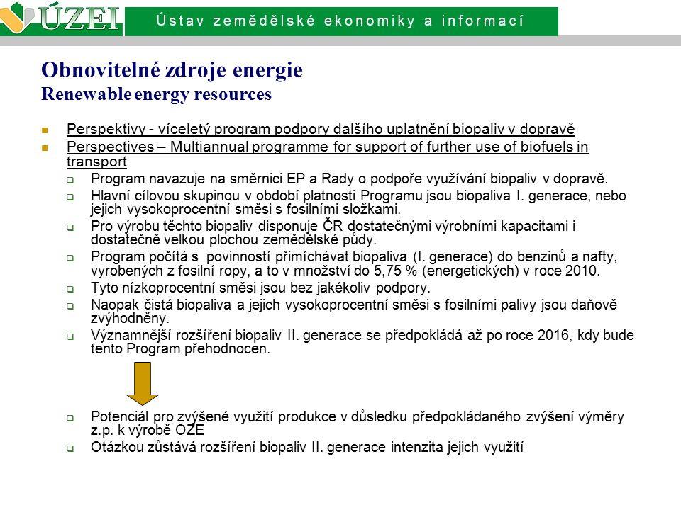 Obnovitelné zdroje energie Renewable energy resources Perspektivy - víceletý program podpory dalšího uplatnění biopaliv v dopravě Perspectives – Multi