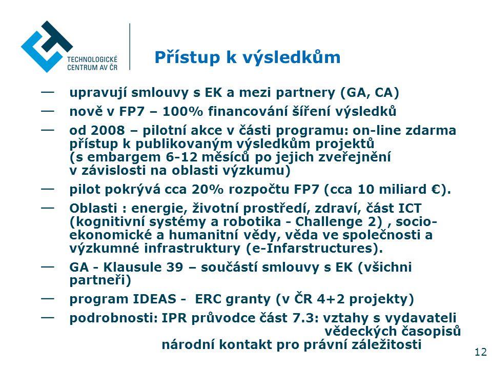 12 Přístup k výsledkům — upravují smlouvy s EK a mezi partnery (GA, CA) — nově v FP7 – 100% financování šíření výsledků — od 2008 – pilotní akce v čás