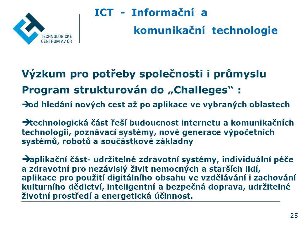 """25 ICT - Informační a komunikační technologie Výzkum pro potřeby společnosti i průmyslu Program strukturován do """"Challeges :  od hledání nových cest až po aplikace ve vybraných oblastech  technologická část řeší budoucnost internetu a komunikačních technologií, poznávací systémy, nové generace výpočetních systémů, robotů a součástkové základny  aplikační část- udržitelné zdravotní systémy, individuální péče a zdravotní pro nezávislý živit nemocných a starších lidí, aplikace pro použití digitálního obsahu ve vzdělávání i zachování kulturního dědictví, inteligentní a bezpečná doprava, udržitelné životní prostředí a energetická účinnost."""