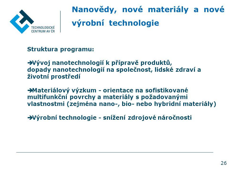 26 Nanovědy, nové materiály a nové výrobní technologie Struktura programu:  Vývoj nanotechnologií k přípravě produktů, dopady nanotechnologií na společnost, lidské zdraví a životní prostředí  Materiálový výzkum - orientace na sofistikované multifunkční povrchy a materiály s požadovanými vlastnostmi (zejména nano-, bio- nebo hybridní materiály)  Výrobní technologie - snížení zdrojové náročnosti