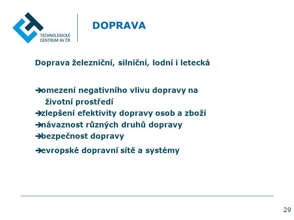 29 DOPRAVA Doprava železniční, silniční, lodní i letecká  omezení negativního vlivu dopravy na životní prostředí  zlepšení efektivity dopravy osob a zboží  návaznost různých druhů dopravy  bezpečnost dopravy  evropské dopravní sítě a systémy