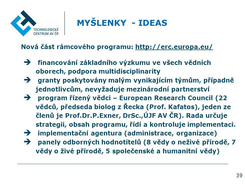 39 MYŠLENKY - IDEAS Nová část rámcového programu: http://erc.europa.eu/  financování základního výzkumu ve všech vědních oborech, podpora multidisciplinarity  granty poskytovány malým vynikajícím týmům, případně jednotlivcům, nevyžaduje mezinárodní partnerství  program řízený vědci – European Research Council (22 vědců, předseda biolog z Řecka (Prof.