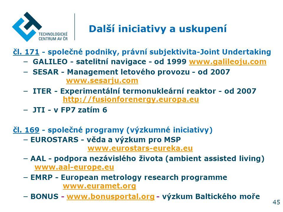 45 Další iniciativy a uskupení čl. 171 - společné podniky, právní subjektivita-Joint Undertaking − GALILEO - satelitní navigace - od 1999 www.galileoj