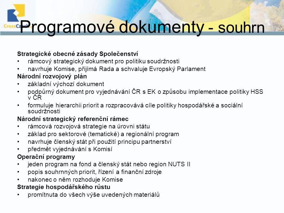 Programové dokumenty - souhrn Strategické obecné zásady Společenství rámcový strategický dokument pro politiku soudržnosti navrhuje Komise, přijímá Ra