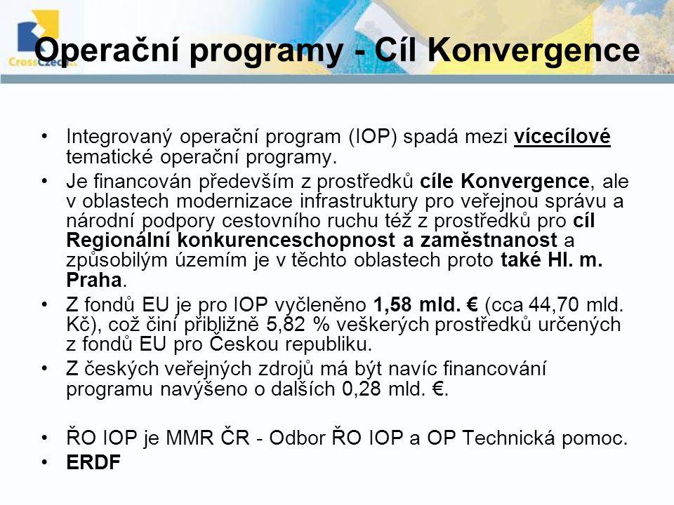 Operační programy - Cíl Konvergence Integrovaný operační program (IOP) spadá mezi vícecílové tematické operační programy. Je financován především z pr