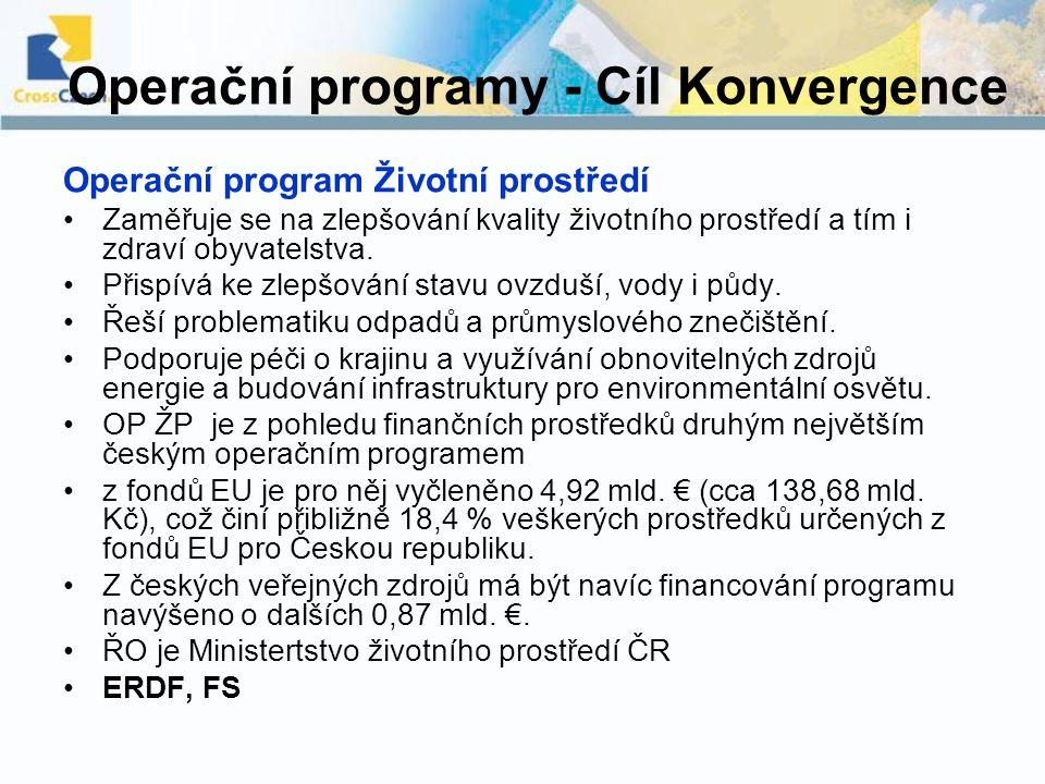 Operační programy - Cíl Konvergence Operační program Životní prostředí Zaměřuje se na zlepšování kvality životního prostředí a tím i zdraví obyvatelst