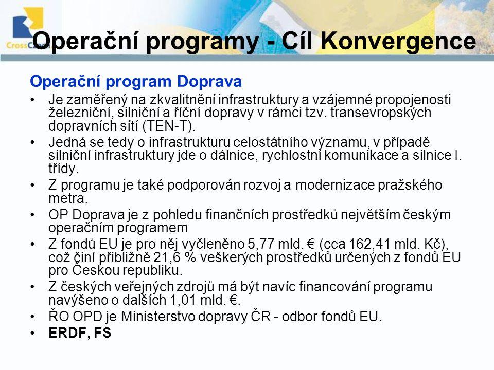 Operační programy - Cíl Konvergence Operační program Doprava Je zaměřený na zkvalitnění infrastruktury a vzájemné propojenosti železniční, silniční a