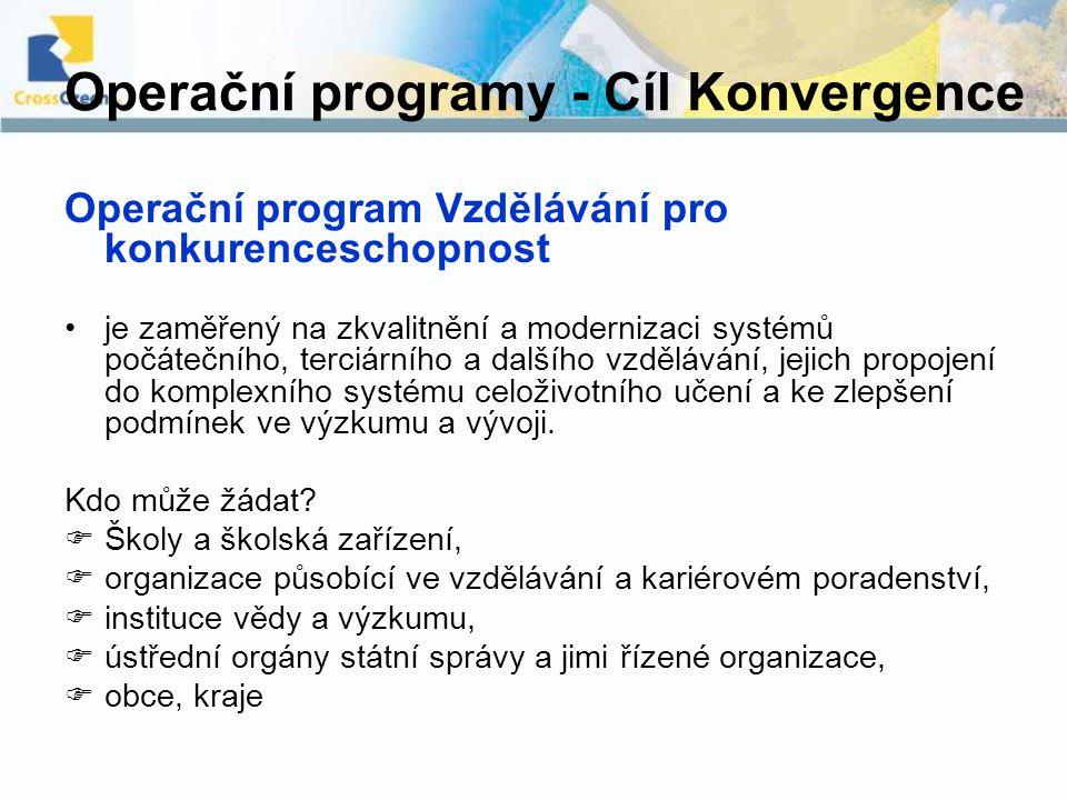 Operační programy - Cíl Konvergence Operační program Vzdělávání pro konkurenceschopnost je zaměřený na zkvalitnění a modernizaci systémů počátečního,