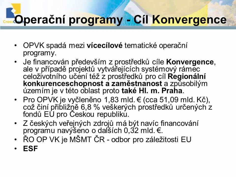Operační programy - Cíl Konvergence OPVK spadá mezi vícecílové tematické operační programy. Je financován především z prostředků cíle Konvergence, ale