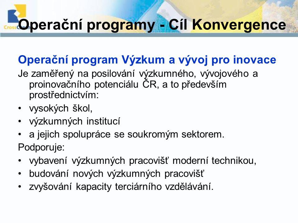 Operační programy - Cíl Konvergence Operační program Výzkum a vývoj pro inovace Je zaměřený na posilování výzkumného, vývojového a proinovačního poten