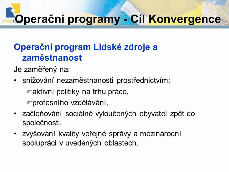 Operační programy - Cíl Konvergence Operační program Lidské zdroje a zaměstnanost Je zaměřený na: snižování nezaměstnanosti prostřednictvím:  aktivní