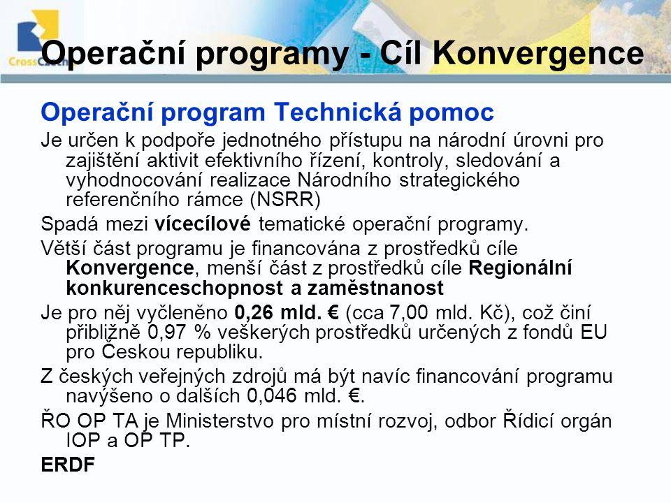 Operační programy - Cíl Konvergence Operační program Technická pomoc Je určen k podpoře jednotného přístupu na národní úrovni pro zajištění aktivit ef