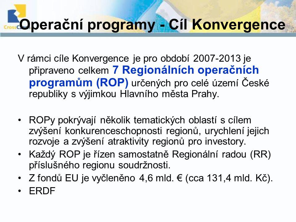 Operační programy - Cíl Konvergence V rámci cíle Konvergence je pro období 2007-2013 je připraveno celkem 7 Regionálních operačních programům (ROP) ur