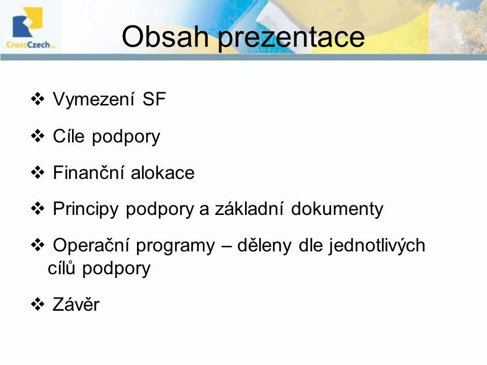 Obsah prezentace  Vymezení SF  Cíle podpory  Finanční alokace  Principy podpory a základní dokumenty  Operační programy – děleny dle jednotlivých