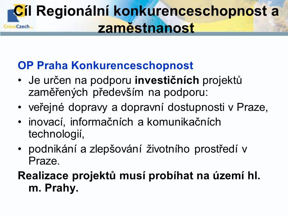 Cíl Regionální konkurenceschopnost a zaměstnanost OP Praha Konkurenceschopnost Je určen na podporu investičních projektů zaměřených především na podpo