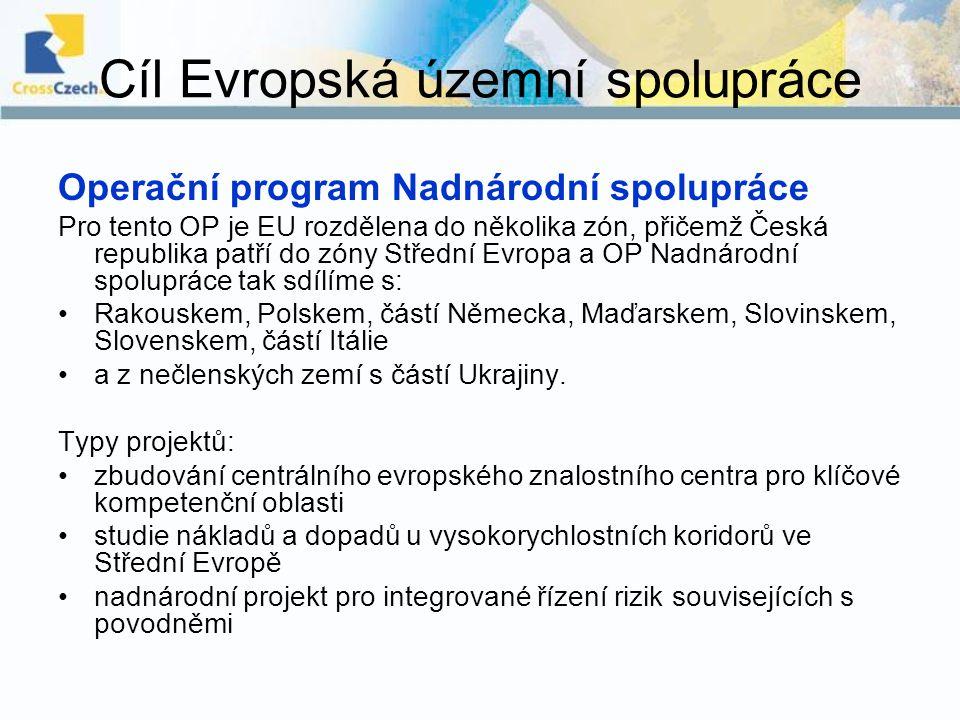 Cíl Evropská územní spolupráce Operační program Nadnárodní spolupráce Pro tento OP je EU rozdělena do několika zón, přičemž Česká republika patří do z
