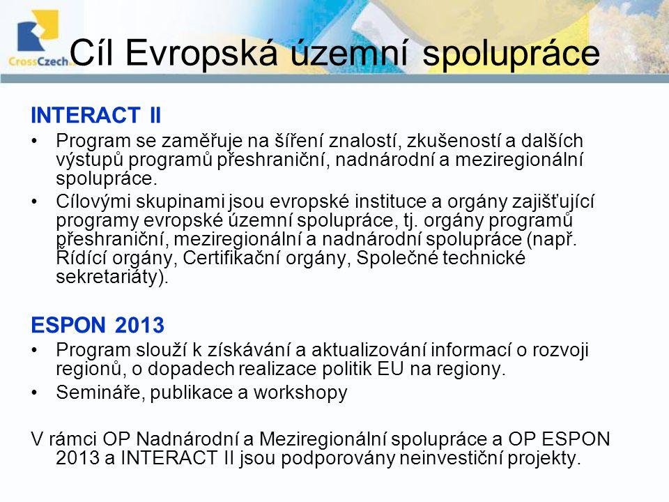 Cíl Evropská územní spolupráce INTERACT II Program se zaměřuje na šíření znalostí, zkušeností a dalších výstupů programů přeshraniční, nadnárodní a me