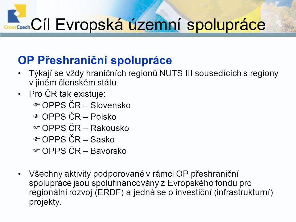 Cíl Evropská územní spolupráce OP Přeshraniční spolupráce Týkají se vždy hraničních regionů NUTS III sousedících s regiony v jiném členském státu. Pro