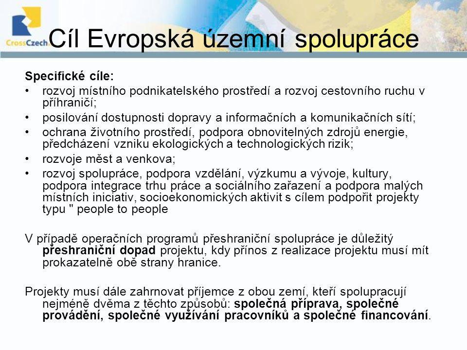Cíl Evropská územní spolupráce Specifické cíle: rozvoj místního podnikatelského prostředí a rozvoj cestovního ruchu v příhraničí; posilování dostupnos