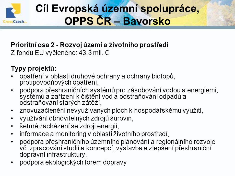Cíl Evropská územní spolupráce, OPPS ČR – Bavorsko Prioritní osa 2 - Rozvoj území a životního prostředí Z fondů EU vyčleněno: 43,3 mil. € Typy projekt
