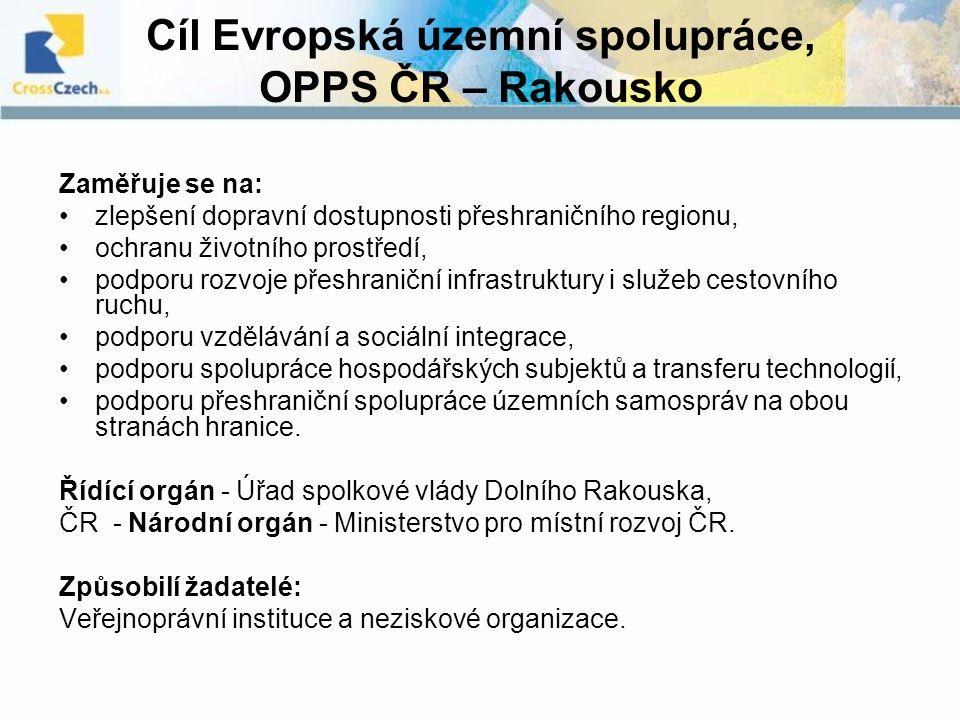 Cíl Evropská územní spolupráce, OPPS ČR – Rakousko Zaměřuje se na: zlepšení dopravní dostupnosti přeshraničního regionu, ochranu životního prostředí,