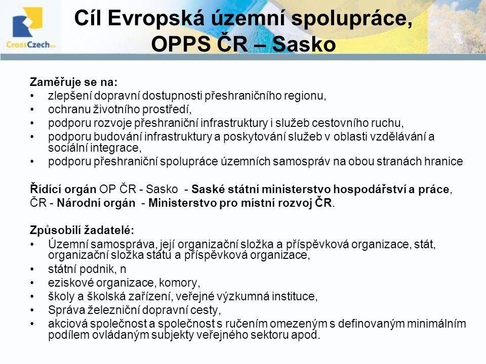 Cíl Evropská územní spolupráce, OPPS ČR – Sasko Zaměřuje se na: zlepšení dopravní dostupnosti přeshraničního regionu, ochranu životního prostředí, pod