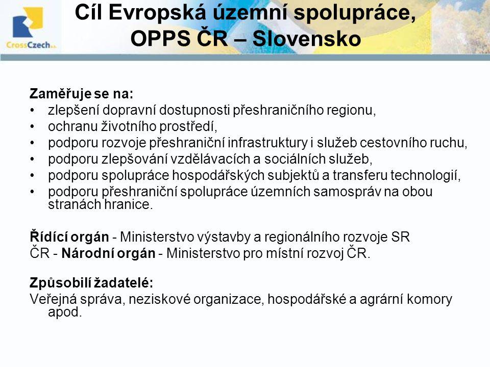 Cíl Evropská územní spolupráce, OPPS ČR – Slovensko Zaměřuje se na: zlepšení dopravní dostupnosti přeshraničního regionu, ochranu životního prostředí,