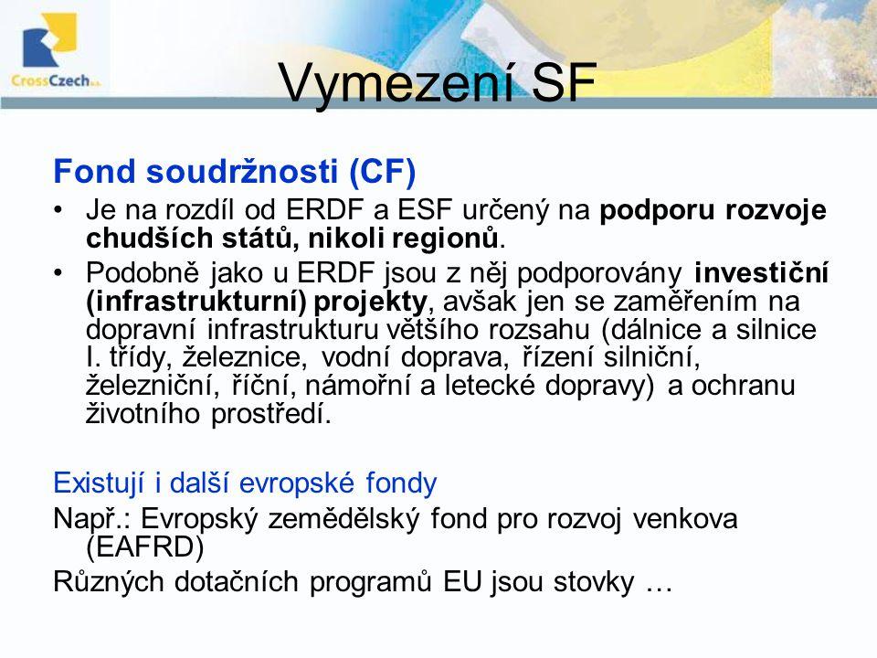 Vymezení SF Fond soudržnosti (CF) Je na rozdíl od ERDF a ESF určený na podporu rozvoje chudších států, nikoli regionů. Podobně jako u ERDF jsou z něj
