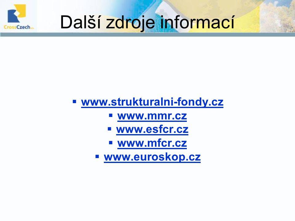 Další zdroje informací  www.strukturalni-fondy.cz  www.mmr.cz  www.esfcr.cz  www.mfcr.cz  www.euroskop.cz