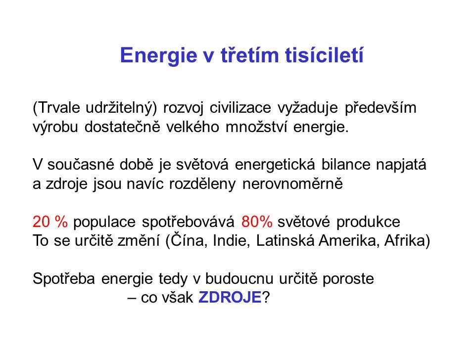 Rok 2006: Země má 6 miliard obyvatel Rok 2060 Země bude mít 9 miliard obyvatel Více obyvatel  Více energie Navíc se rychle rozvíjejí státy jako Čína, Indie, Latinská Amerika ??…  v roce 2060 se světová potřeba energie zdvojnásobí !!!!