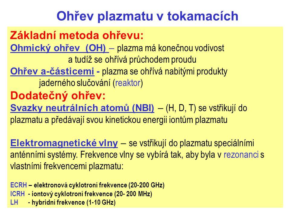 Ohřev plazmatu v tokamacích Základní metoda ohřevu: Ohmický ohřev (OH) – plazma má konečnou vodivost a tudíž se ohřívá průchodem proudu Ohřev a-částicemi - plazma se ohřívá nabitými produkty jaderného slučování (reaktor) Dodatečný ohřev: Svazky neutrálních atomů (NBI) – (H, D, T) se vstřikují do plazmatu a předávají svou kinetickou energii iontům plazmatu Elektromagnetické vlny – se vstřikují do plazmatu speciálními anténními systémy.
