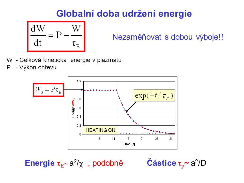 Globalní doba udržení energie W - Celková kinetická energie v plazmatu P - Výkon ohřevu Energie  E ~ a 2 / , podobně Částice  p ~ a 2 /D HEATING ON Nezaměňovat s dobou výboje!!
