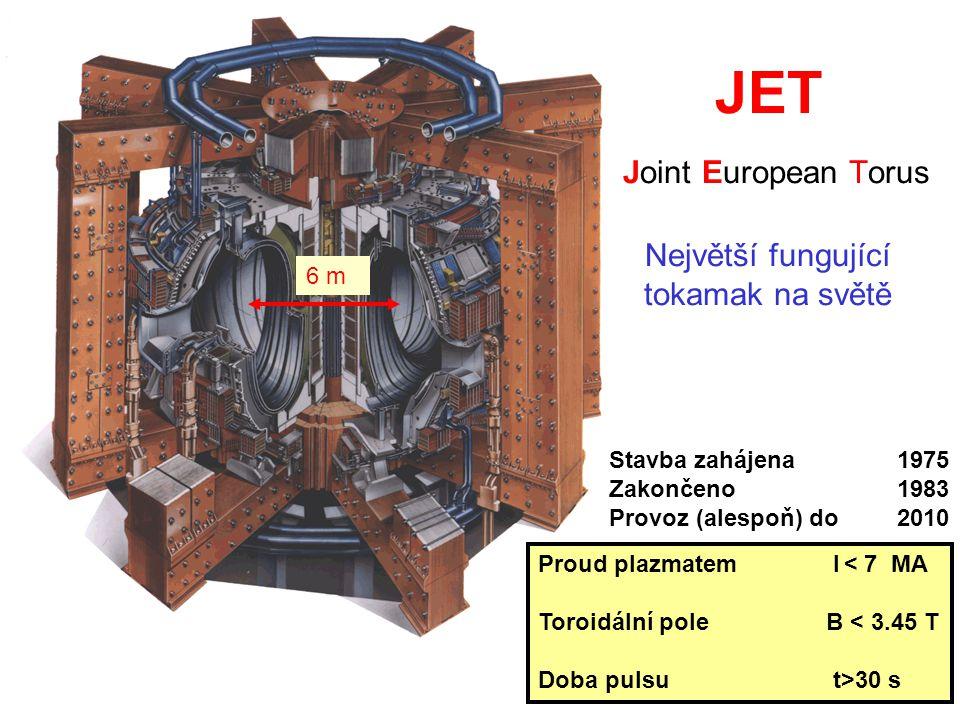 Proud plazmatem I < 7 MA Toroidální pole B < 3.45 T Doba pulsu t>30 s JET Joint European Torus Největší fungující tokamak na světě Stavba zahájena 1975 Zakončeno1983 Provoz (alespoň) do2010 6 m