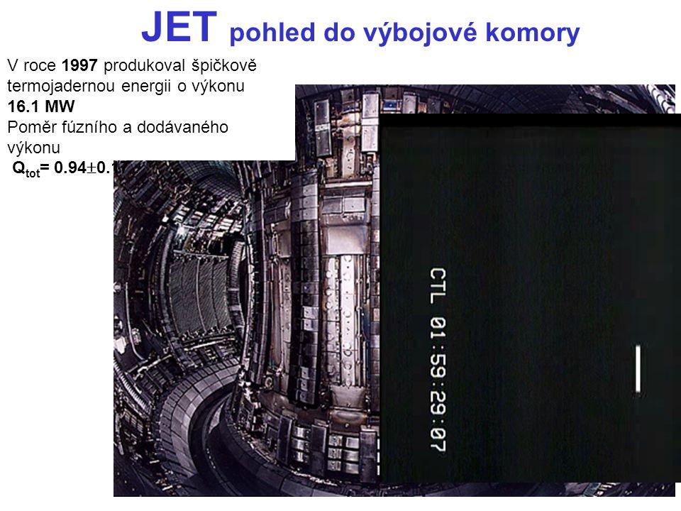 JET pohled do výbojové komory V roce 1997 produkoval špičkově termojadernou energii o výkonu 16.1 MW Poměr fúzního a dodávaného výkonu Q tot = 0.94 