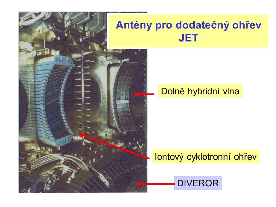Antény pro dodatečný ohřev JET DIVEROR Iontový cyklotronní ohřev Dolně hybridní vlna